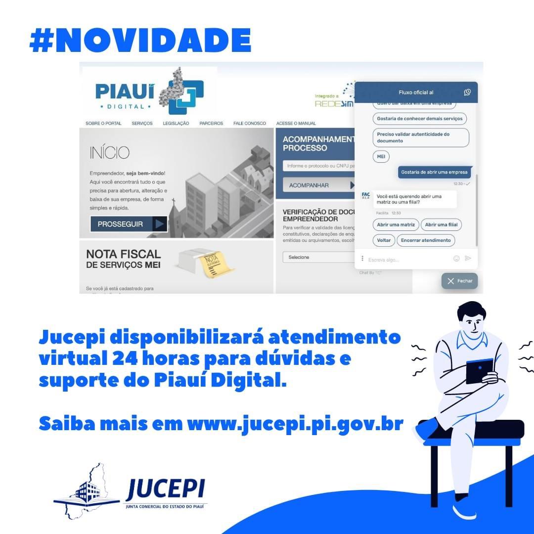 Jucepi disponibilizará atendimento virtual 24 horas para dúvidas e suporte do Piauí Digital