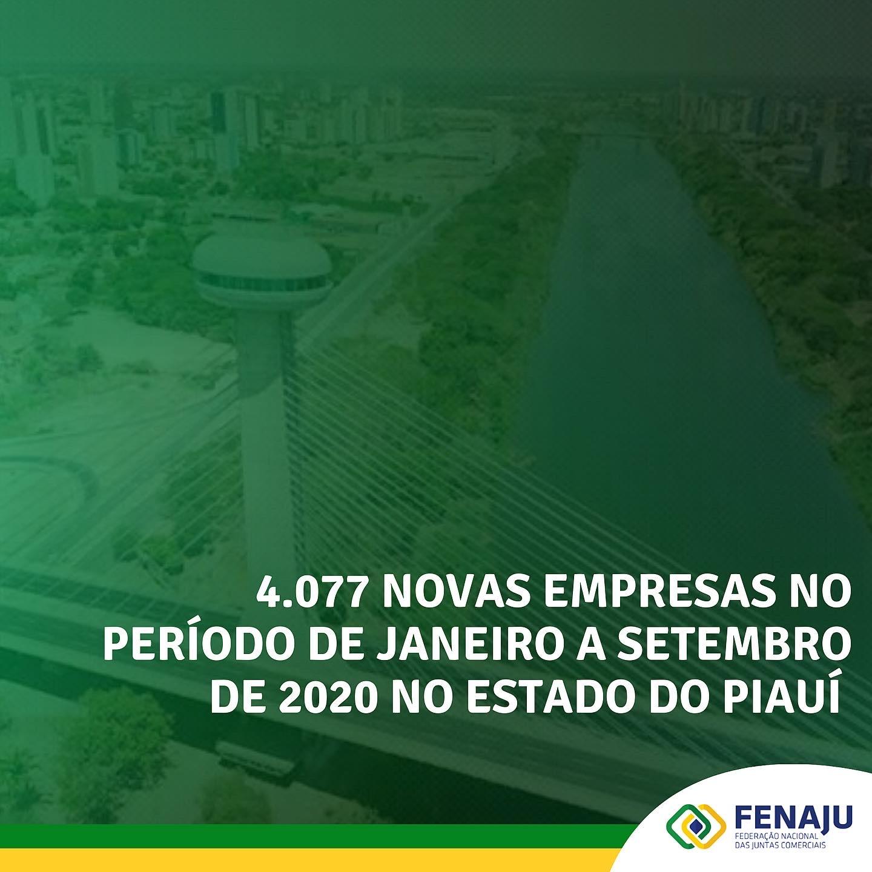 4.077 novas empresas no período de janeiro a setembro de 2020 no estado do Piauí