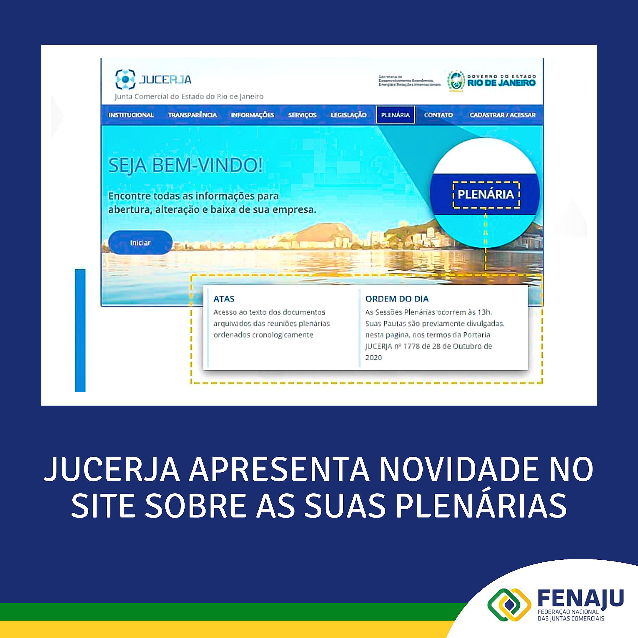 JUCERJA apresenta novidade no site sobre as suas plenárias