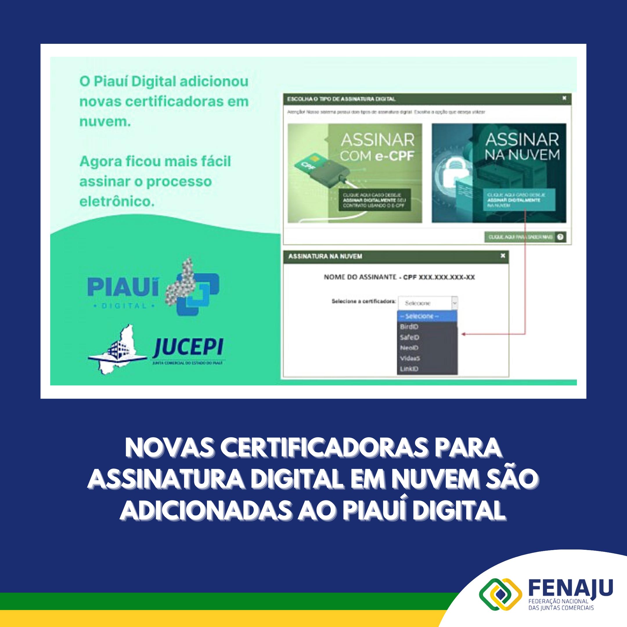 Novas certificadoras para assinatura digital em nuvem são adicionadas ao Piauí Digital